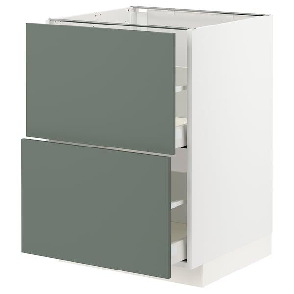METOD / MAXIMERA Bänkskåp 2 fronter/2 höga lådor, vit/Bodarp grågrön, 60x60 cm