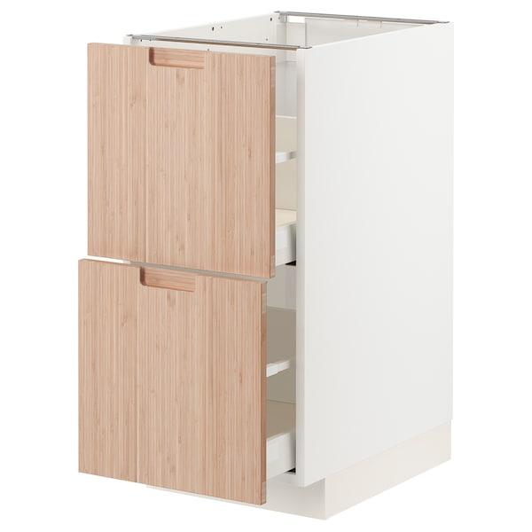 METOD / MAXIMERA Bänkskåp 2 fronter/2 höga lådor, vit/Fröjered ljus bambu, 40x60 cm
