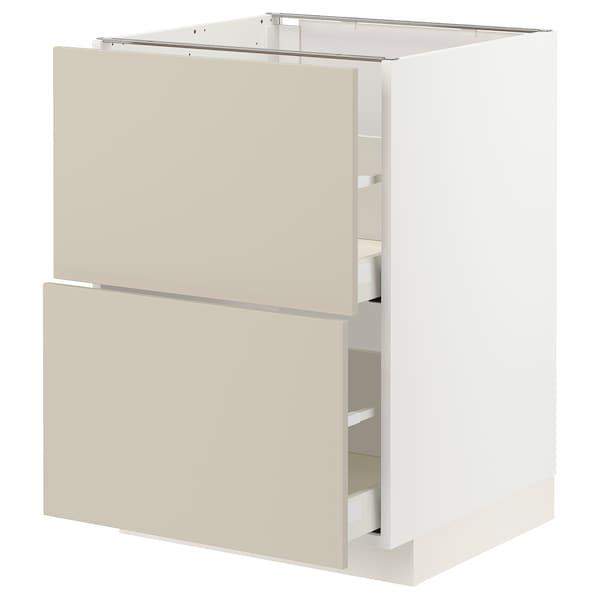 METOD / MAXIMERA Bänkskåp 2 fronter/2 höga lådor, vit/Havstorp beige, 60x60 cm