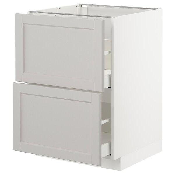 METOD / MAXIMERA Bänkskåp 2 fronter/2 höga lådor, vit/Lerhyttan ljusgrå, 60x60 cm