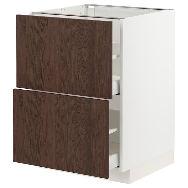 METOD / MAXIMERA Bänkskåp 2 fronter/2 höga lådor, vit/Sinarp brun, 60x60 cm