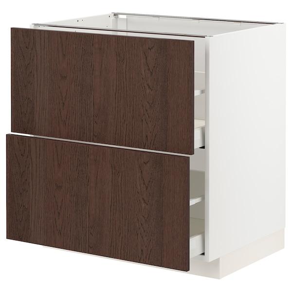 METOD / MAXIMERA Bänkskåp 2 fronter/2 höga lådor, vit/Sinarp brun, 80x60 cm