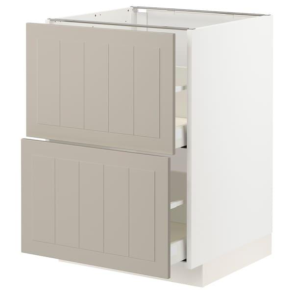 METOD / MAXIMERA Bänkskåp 2 fronter/2 höga lådor, vit/Stensund beige, 60x60 cm