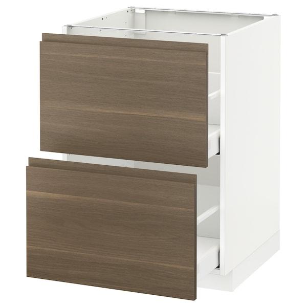 METOD / MAXIMERA Bänkskåp 2 fronter/2 höga lådor, vit/Voxtorp valnöt, 60x60 cm