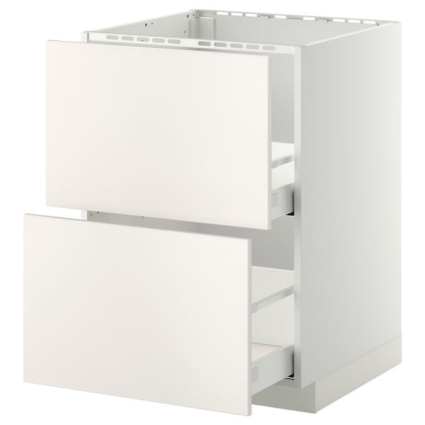 METOD / MAXIMERA Bänkskåp f diskbänk+2 frntr/2 lådor, vit/Veddinge vit, 60x60 cm