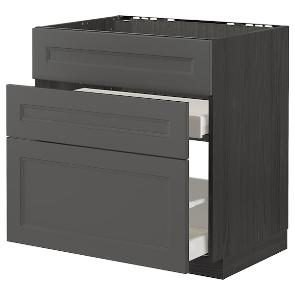 METOD / MAXIMERA Bänkskåp f diskbänk+3 frntr/2 lådor, svart/Axstad mörkgrå, 80x60 cm
