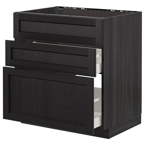 METOD / MAXIMERA Bänkskåp f diskbänk+3 frntr/2 lådor, svart/Lerhyttan svartlaserad, 80x60 cm