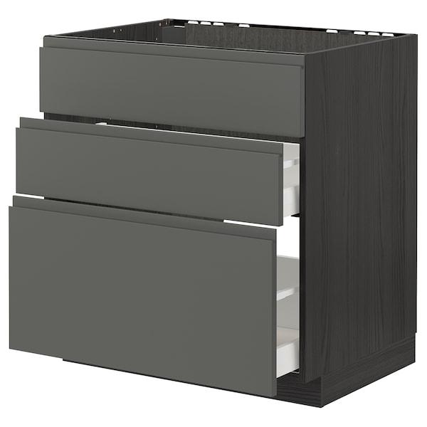 METOD / MAXIMERA Bänkskåp f diskbänk+3 frntr/2 lådor, svart/Voxtorp mörkgrå, 80x60 cm