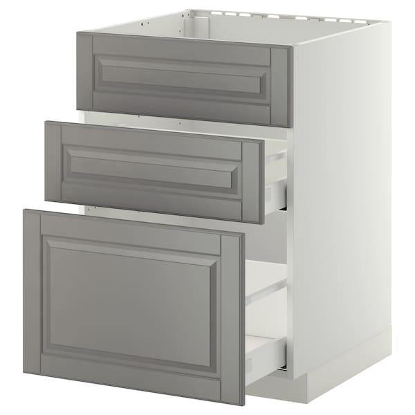 METOD / MAXIMERA Bänkskåp f diskbänk+3 frntr/2 lådor, vit/Bodbyn grå, 60x60 cm