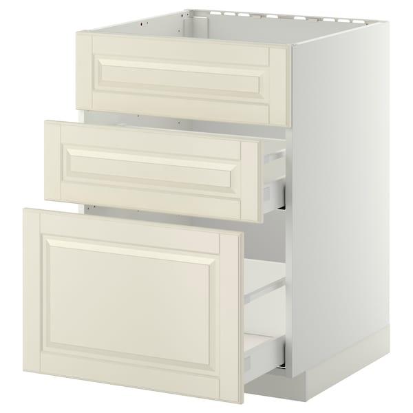 METOD / MAXIMERA Bänkskåp f diskbänk+3 frntr/2 lådor, vit/Bodbyn off-white, 60x60 cm