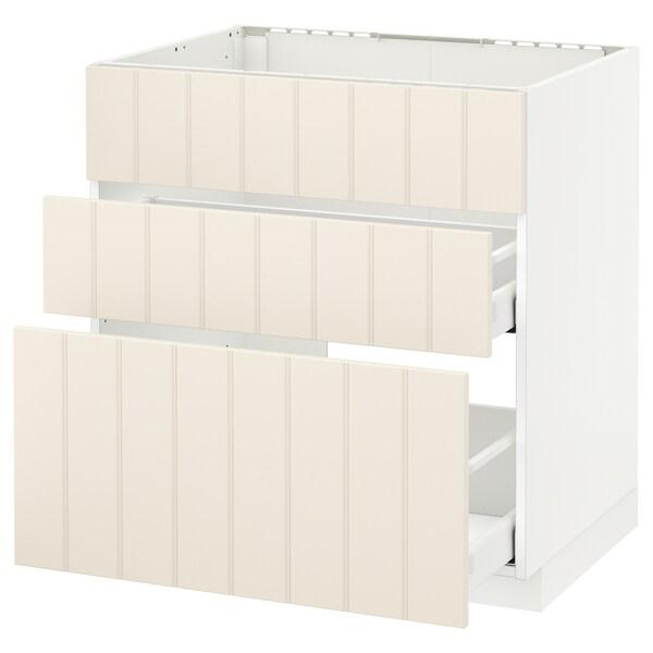 METOD / MAXIMERA Bänkskåp f diskbänk+3 frntr/2 lådor, vit/Hittarp off-white, 80x60 cm