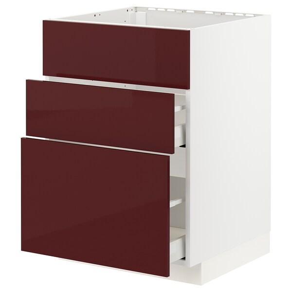 METOD / MAXIMERA Bänkskåp f diskbänk+3 frntr/2 lådor, vit Kallarp/högglans mörk rödbrun, 60x60 cm