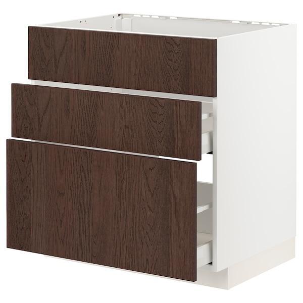 METOD / MAXIMERA Bänkskåp f diskbänk+3 frntr/2 lådor, vit/Sinarp brun, 80x60 cm