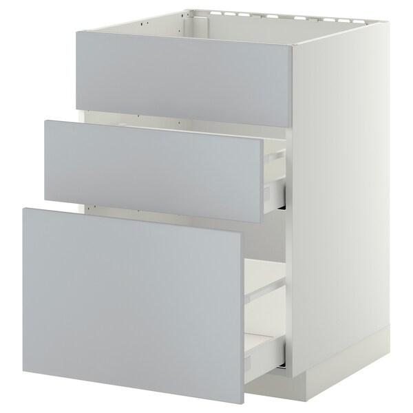 METOD / MAXIMERA Bänkskåp f diskbänk+3 frntr/2 lådor, vit/Veddinge grå, 60x60 cm