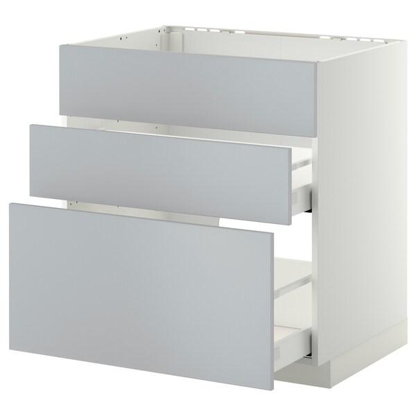 METOD / MAXIMERA Bänkskåp f diskbänk+3 frntr/2 lådor, vit/Veddinge grå, 80x60 cm