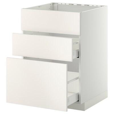 METOD / MAXIMERA Bänkskåp f diskbänk+3 frntr/2 lådor, vit/Veddinge vit, 60x60 cm