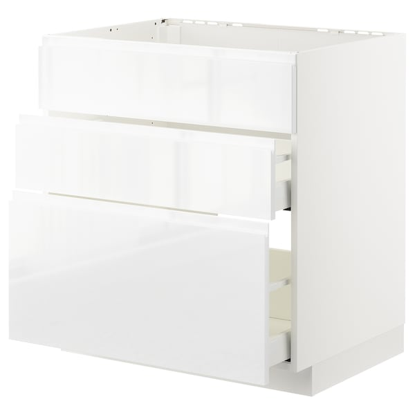 METOD / MAXIMERA Bänkskåp f diskbänk+3 frntr/2 lådor, vit/Voxtorp högglans/vit, 80x60 cm