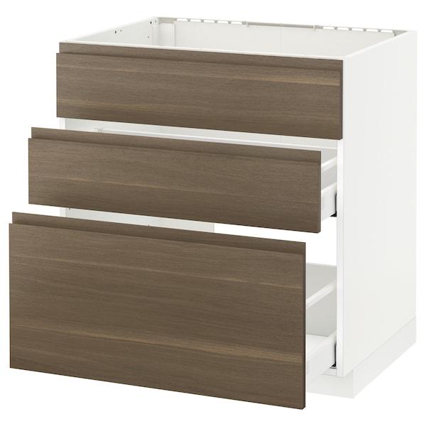 METOD / MAXIMERA Bänkskåp f diskbänk+3 frntr/2 lådor, vit/Voxtorp valnöt, 80x60 cm