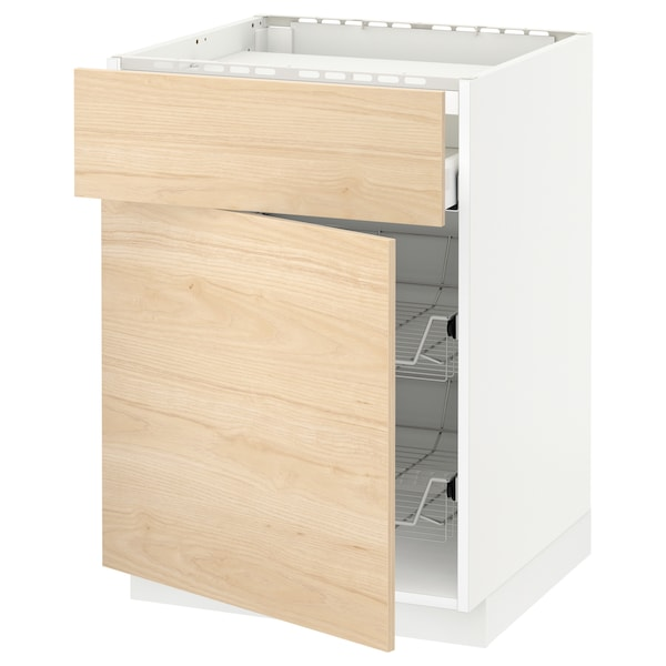 METOD / MAXIMERA Bänkskåp f häll/låda/2 trådbackar, vit/Askersund ljus askmönstrad, 60x60 cm