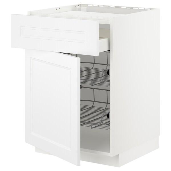 METOD / MAXIMERA Bänkskåp f häll/låda/2 trådbackar, vit/Axstad matt vit, 60x60 cm