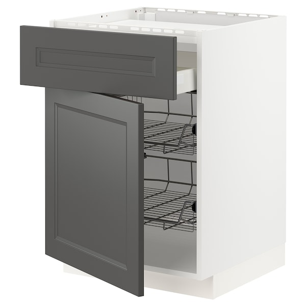 METOD / MAXIMERA Bänkskåp f häll/låda/2 trådbackar, vit/Axstad mörkgrå, 60x60 cm