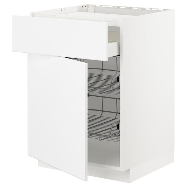 METOD / MAXIMERA Bänkskåp f häll/låda/2 trådbackar, vit/Kungsbacka matt vit, 60x60 cm