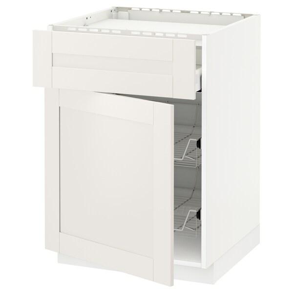 METOD / MAXIMERA Bänkskåp f häll/låda/2 trådbackar, vit/Sävedal vit, 60x60 cm