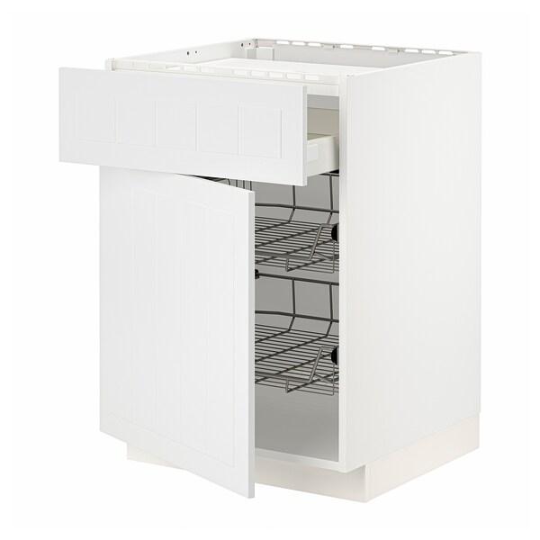 METOD / MAXIMERA Bänkskåp f häll/låda/2 trådbackar, vit/Stensund vit, 60x60 cm