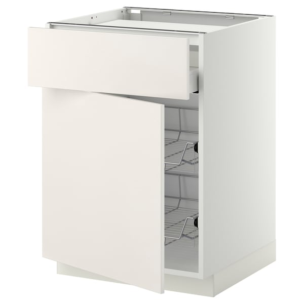 METOD / MAXIMERA Bänkskåp f häll/låda/2 trådbackar, vit/Veddinge vit, 60x60 cm