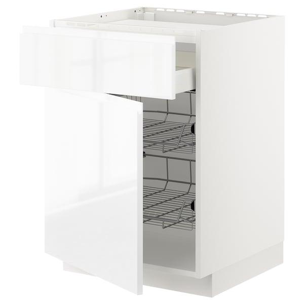 METOD / MAXIMERA Bänkskåp f häll/låda/2 trådbackar, vit/Voxtorp högglans/vit, 60x60 cm