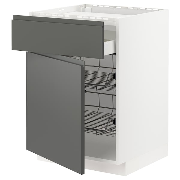 METOD / MAXIMERA Bänkskåp f häll/låda/2 trådbackar, vit/Voxtorp mörkgrå, 60x60 cm