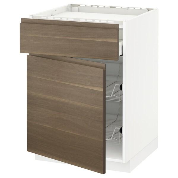METOD / MAXIMERA Bänkskåp f häll/låda/2 trådbackar, vit/Voxtorp valnötsmönstrad, 60x60 cm