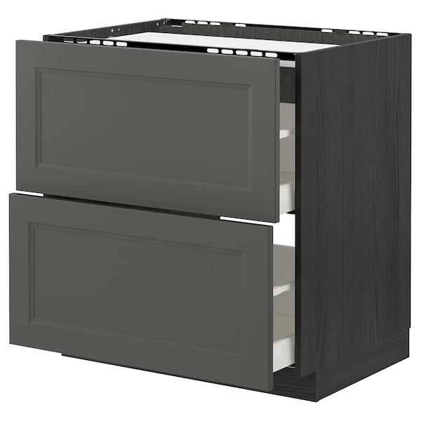 METOD / MAXIMERA Bänkskåp för häll/2 frntr/2 lådor, svart/Axstad mörkgrå, 80x60 cm
