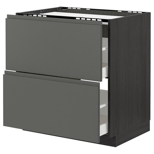 METOD / MAXIMERA Bänkskåp för häll/2 frntr/2 lådor, svart/Voxtorp mörkgrå, 80x60 cm