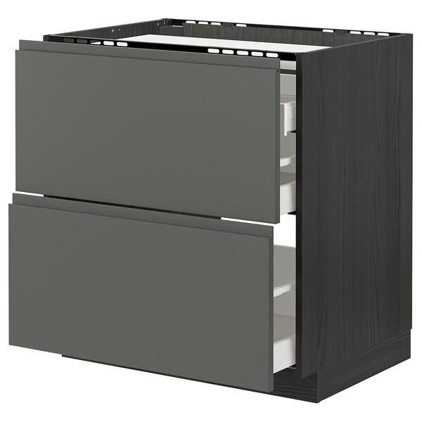 METOD / MAXIMERA Bänkskåp för häll/2 frntr/3 lådor, svart/Voxtorp mörkgrå, 80x60 cm