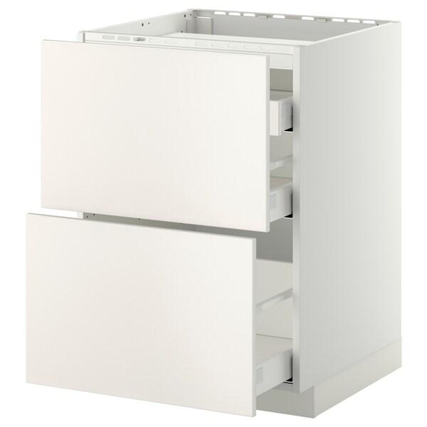 METOD / MAXIMERA Bänkskåp för häll/2 frntr/3 lådor, vit/Veddinge vit, 60x60 cm
