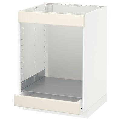 METOD / MAXIMERA Bänkskåp för häll+ugn med låda, vit/Bodbyn off-white, 60x60 cm
