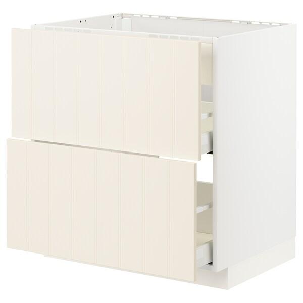 METOD / MAXIMERA Bänkskåp m häll/int köksfläkt m låd, vit/Hittarp off-white, 80x60 cm