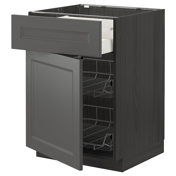 METOD / MAXIMERA Bänkskåp m trådback/låda/dörr, svart/Axstad mörkgrå, 60x60 cm