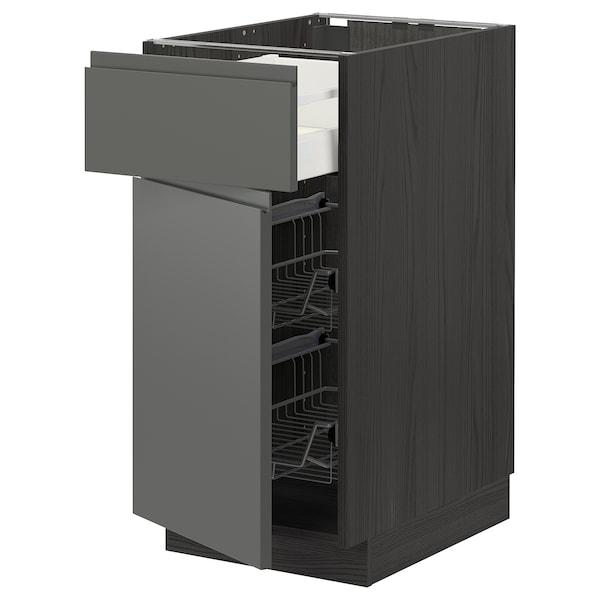 METOD / MAXIMERA Bänkskåp m trådback/låda/dörr, svart/Voxtorp mörkgrå, 40x60 cm