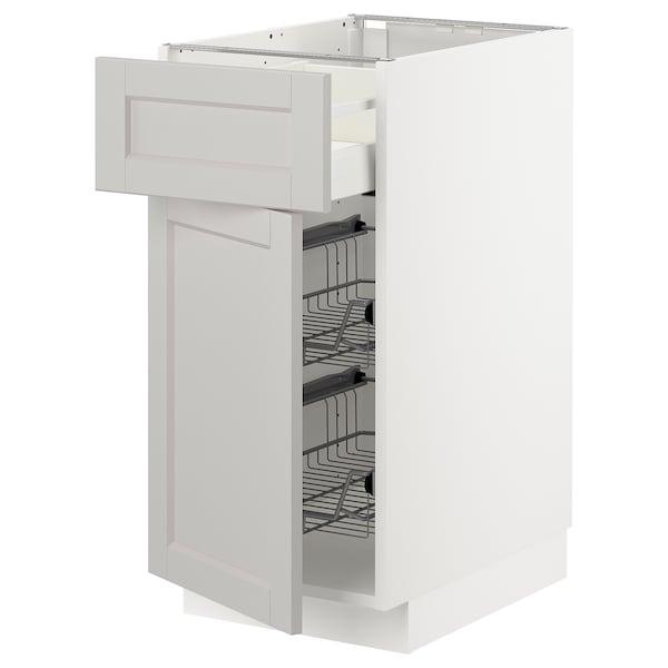 METOD / MAXIMERA Bänkskåp m trådback/låda/dörr, vit/Lerhyttan ljusgrå, 40x60 cm