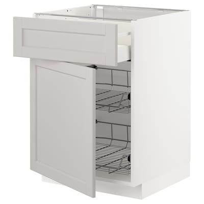 METOD / MAXIMERA Bänkskåp m trådback/låda/dörr, vit/Lerhyttan ljusgrå, 60x60 cm