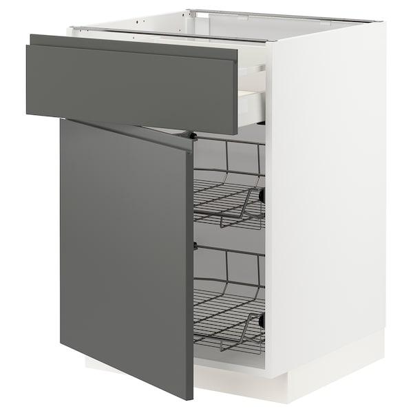 METOD / MAXIMERA Bänkskåp m trådback/låda/dörr, vit/Voxtorp mörkgrå, 60x60 cm