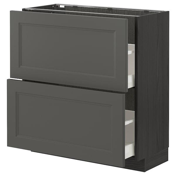 METOD / MAXIMERA Bänkskåp med 2 lådor, svart/Axstad mörkgrå, 80x37 cm