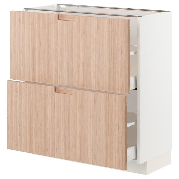 METOD / MAXIMERA Bänkskåp med 2 lådor, vit/Fröjered ljus bambu, 80x37 cm
