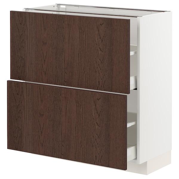 METOD / MAXIMERA Bänkskåp med 2 lådor, vit/Sinarp brun, 80x37 cm