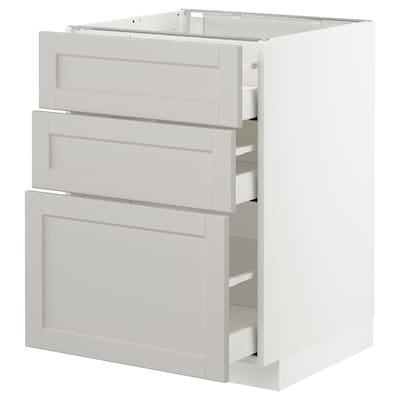 METOD / MAXIMERA Bänkskåp med 3 lådor, vit/Lerhyttan ljusgrå, 60x60 cm