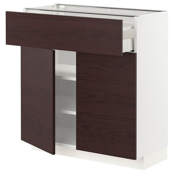 METOD / MAXIMERA Bänkskåp med låda/2 dörrar, vit Askersund/mörkbrun askmönstrad, 80x37 cm