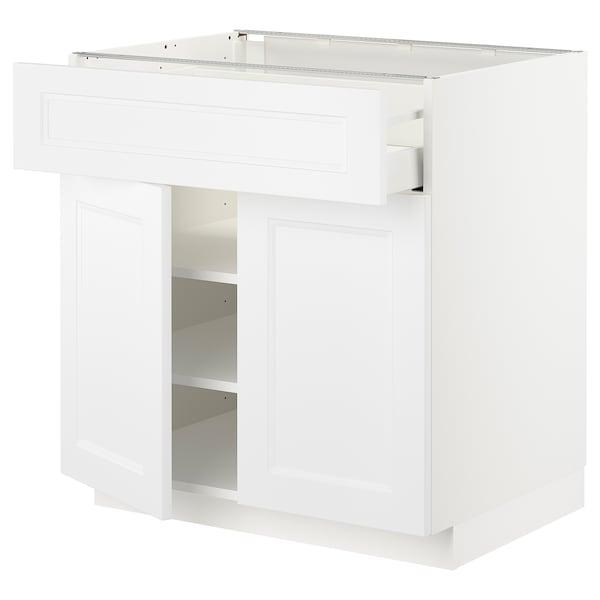 METOD / MAXIMERA Bänkskåp med låda/2 dörrar, vit/Axstad matt vit, 80x60 cm