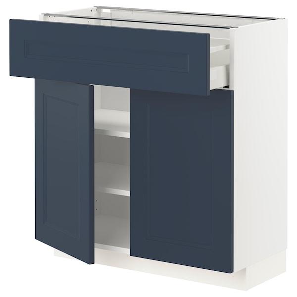 METOD / MAXIMERA Bänkskåp med låda/2 dörrar, vit Axstad/matt yta blå, 80x37 cm